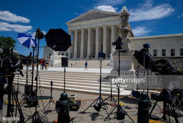 Equipment set up by the media sits outside the US Supreme Court June 26 2017 in Washington DC
