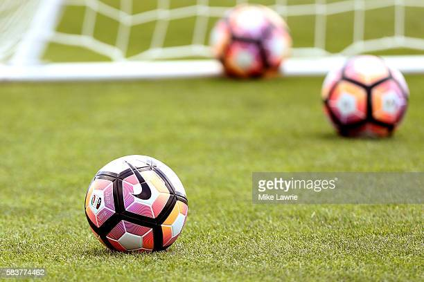 Equipment sits near the goal during a friendly match against the Boston Bolts at Ohiri Field on July 27 2016 in Cambridge Massachusetts