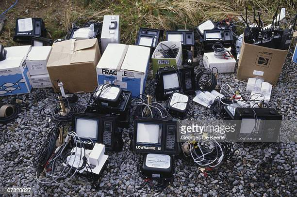 Equipment used in 'Operation Deepscan' a search for the Loch Ness Monster in Loch Ness Scotland 11th October 1987 In front are a number of Lowrance...
