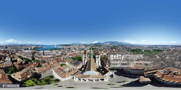 360° equirectangular panorama of geneva's old town - panoramica a 360 gradi foto e immagini stock