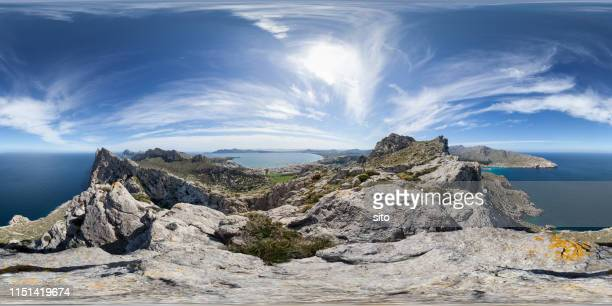 equirectangular panorama on top of a mountain ridge in cabo formentor - 360 fotografías e imágenes de stock