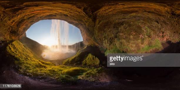 equirectangular panorama taken behind seljalandsfoss, iceland - behind waterfall stock pictures, royalty-free photos & images