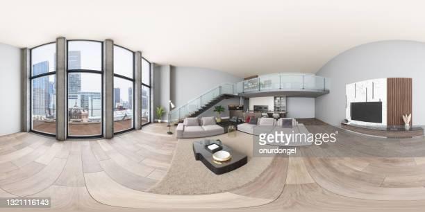 リビングルーム、キッチン、階段付きモダンなヴィラの360エクイレクタンギュラレクタントパノラマインテリア - 全天周パノラマ ストックフォトと画像