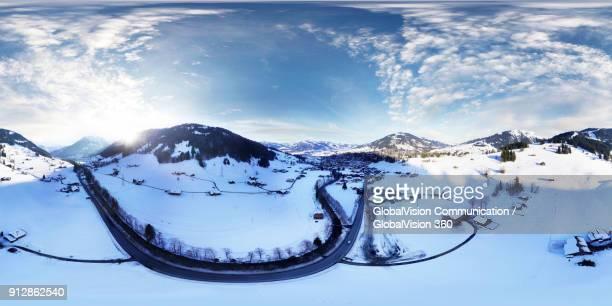 Equirectangular Photo of Swiss Alps in Wintertime