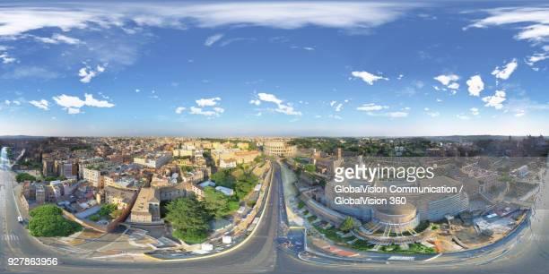equirectangular photo of the colosseum, rome, italy - panoramica a 360 gradi foto e immagini stock