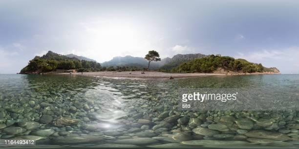 equirrectangular panorama at cala tuent, mallorca, spain - 全天周パノラマ ストックフォトと画像