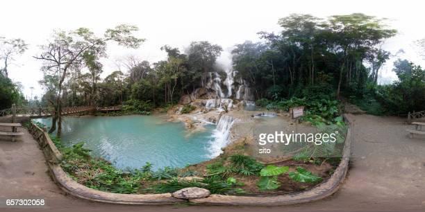 Equirrectangular panorama at Kuang Si waterfall & third pool, Luang Prabang, Laos