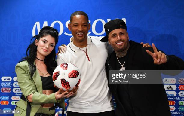 Era Istrefi Will Smith and Nicky Jam pose at a closing ceremony press conference during the 2018 FIFA World Cup at Luzhniki Stadium on July 13 2018...