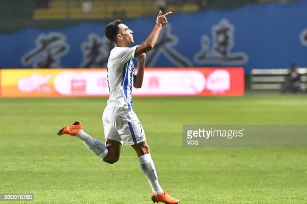 Eran Zahavi of Guangzhou RF celebrates a goal during the 2018 Chinese Football Association Super League second round match between Guangzhou RF and...
