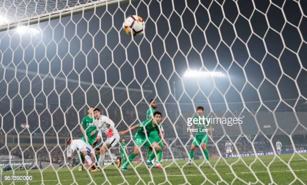 Eran Zahavi of Guangzhou RF scores his team's goal during 2018 China Super League match between Beijing Guoan and Guangzhou RF at Beijing Workers...