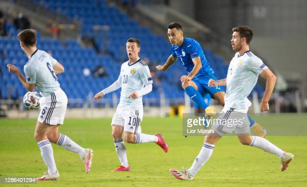 Eran Zahavi of Israel runs for the ball during the UEFA Nations League group stage match between Israel and Scotland at Netanya Stadium on November...