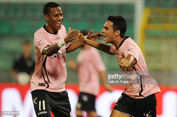 Eran Zahavi of Palermo celebrates with Abel Hernandez after scoring the opening goal during the pre season friendly match between Us Citta di Palermo...