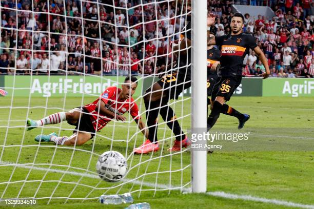 Eran Zahavi of PSV scores second PSV goal during the UEFA Champions League Second Qualifying Round: First Leg match between PSV and Galatasaray at...
