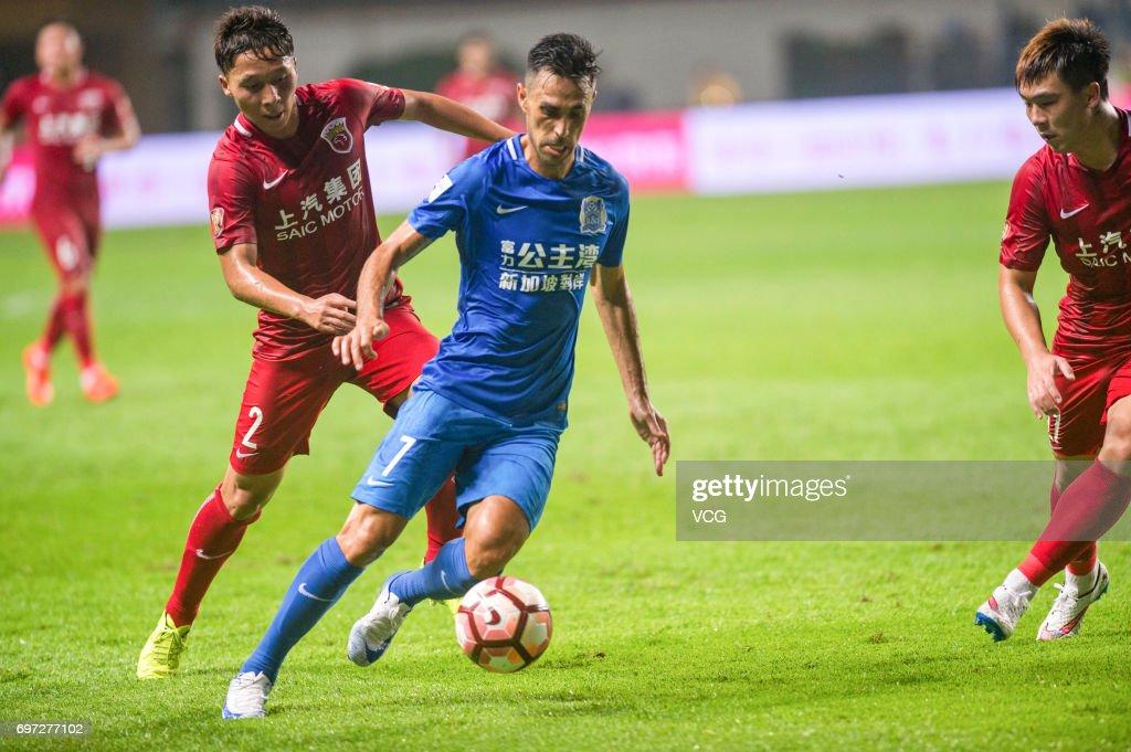 Eran Zehavi #7 of Guangzhou Fuli follows the ball during the 13th round match of 2017 Chinese Football Association Super League (CSL) between Guangzhou Fuli and Shanghai SIPG at Yuexiushan Stadium on June 18, 2017 in Guangzhou, Guangdong Province of China.