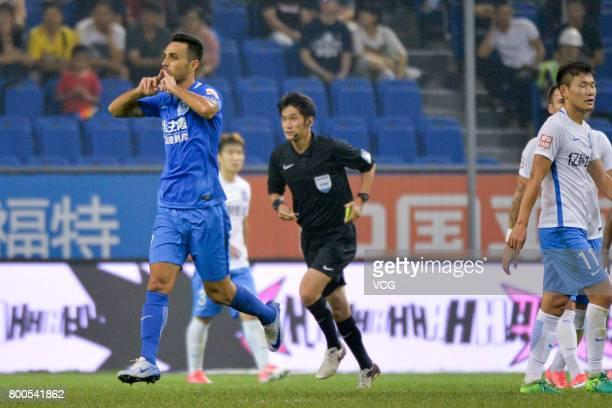 Eran Zehavi of Guangzhou RF celebrates a point during 2017 Chinese Super League 14th round match between Tianjin Teda and Guangzhou RF at Tianjin...