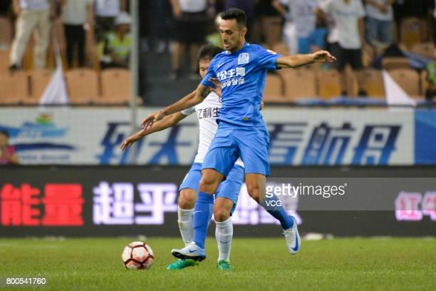 Eran Zehavi of Guangzhou RF follows the ball during 2017 Chinese Super League 14th round match between Tianjin Teda and Guangzhou RF at Tianjin...