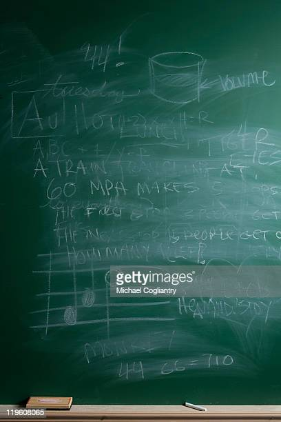 Erased school chalkboard