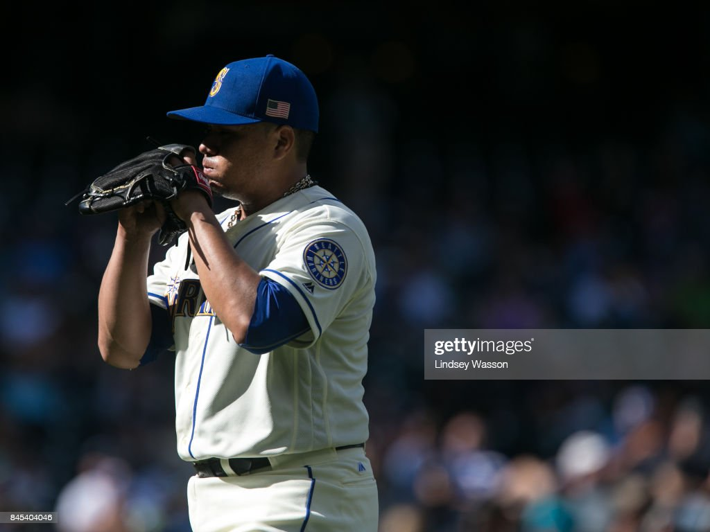 Erasmo Ramirez #31 of the Seattle Mariners walks off of the field after giving up the tying home run and being taken out of the game in the seventh inning at Safeco Field on September 10, 2017 in Seattle, Washington.