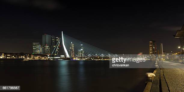Erasmus bridge and City skyline at night, Rotterdam, Holland