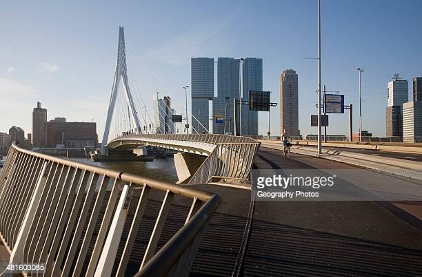 Erasmus Bridge Erasmusbrug spanning the River Maas designed by architect Ben van Berkel completed 1996 800 meter span linking north and south...