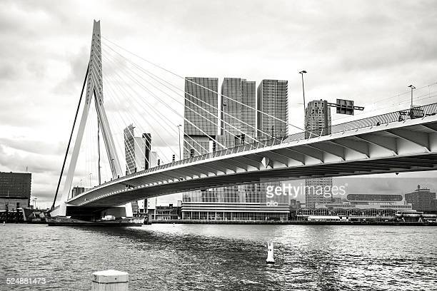 Erasmusbridge and skyline of Rotterdam, The Netherlands