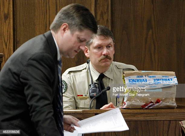 Erath County Sheriff Sgt Greg Stewart a evidence technician testifies about the chain of custody of bags of evidence taken from Eddie Ray Routh and...