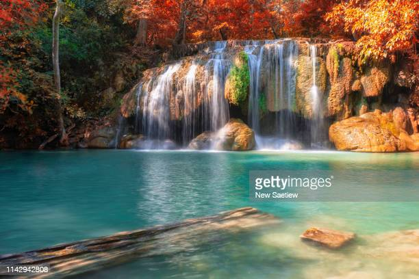 erawan waterfall national park, kanchanaburi, thailand. - heaven stock pictures, royalty-free photos & images
