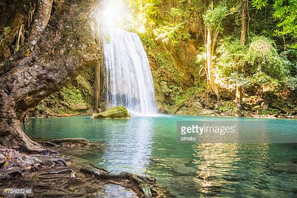 erawan waterfall - thailand - waterfall stock pictures, royalty-free photos & images