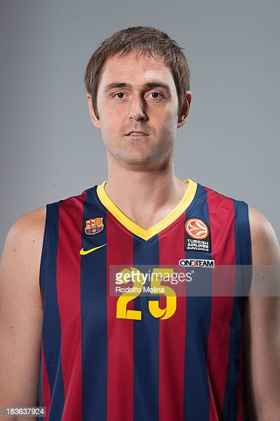 Erazem Lorbek #25 of FC Barcelona poses during the FC Barcelona 2013/14 Turkish Airlines Euroleague Basketball Media Day at Palau Blaugrana on...