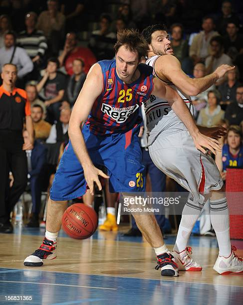 Erazem Lorbek #25 of FC Barcelona Regal in action during the 20122013 Turkish Airlines Euroleague Regular Season Game Day 7 between FC Barcelona...