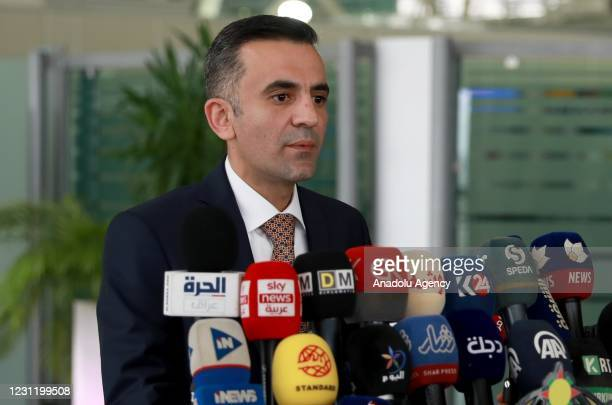 Erbil Airport Manager Ahmed Hoshyar makes a press statement after flights restarted, following a rocket attack outside the Erbil International...