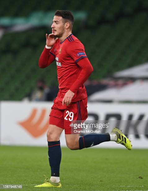 Ercan Kara of Rapid Wien celebrates after scoring their sides second goal during the UEFA Europa League Group B stage match between Dundalk FC and...