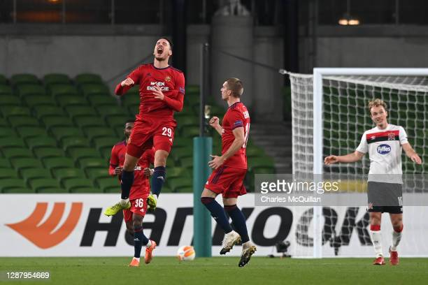 Ercan Kara of Rapid Wien celebrates after scoring their sides third goal during the UEFA Europa League Group B stage match between Dundalk FC and...