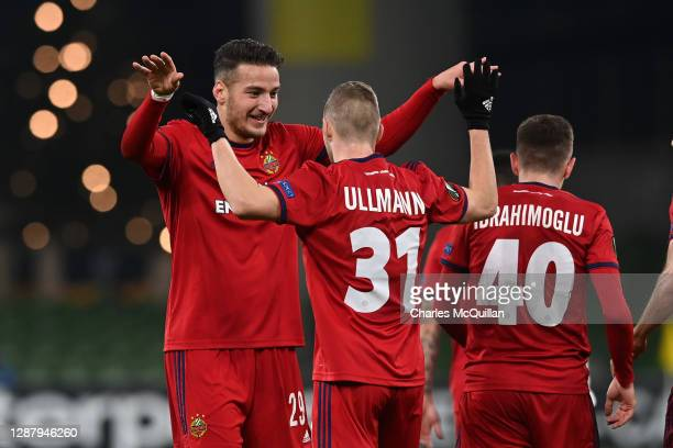 Ercan Kara of Rapid Wien celebrates after scoring their team's second goal with Maximilian Ullmann of Rapid Wien during the UEFA Europa League Group...