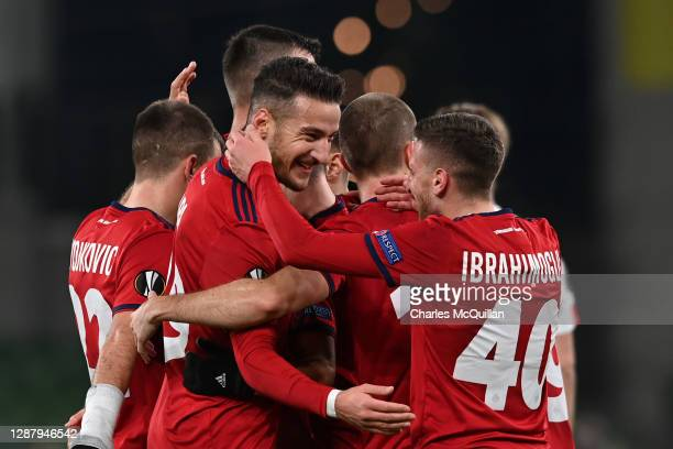 Ercan Kara of Rapid Wien celebrates after scoring their team's second goal during the UEFA Europa League Group B stage match between Dundalk FC and...