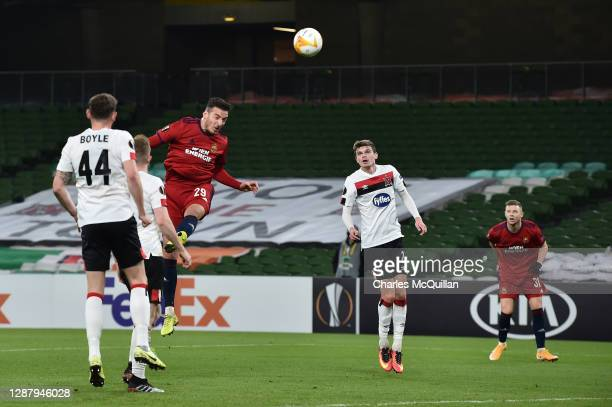 Ercan Kara of Rapid Wien scores their sides second goal during the UEFA Europa League Group B stage match between Dundalk FC and Rapid Wien at Aviva...