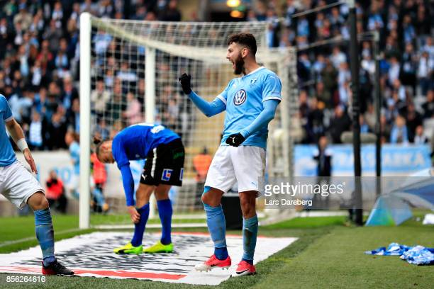 Erdal Rakip of Malmo FF celebrate his 10 goal during the Allsvenskan match between Malmo FF and Halmstads BK at Swedbank Stadion on October 1 2017 in...