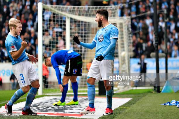 Erdal Rakip of Malmo FF celebrate his 10 goal together with Anton Tinnerholm during the Allsvenskan match between Malmo FF and Halmstads BK at...