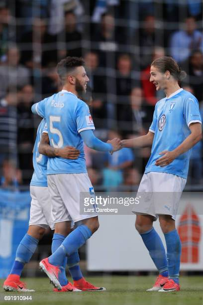 Erdal Rakip of Malmo FF celebrate his 12 goal during the Allsvenskan match between Jonkopings Sodra IF and Malmo FF at Stadsparksvallen on June 3...