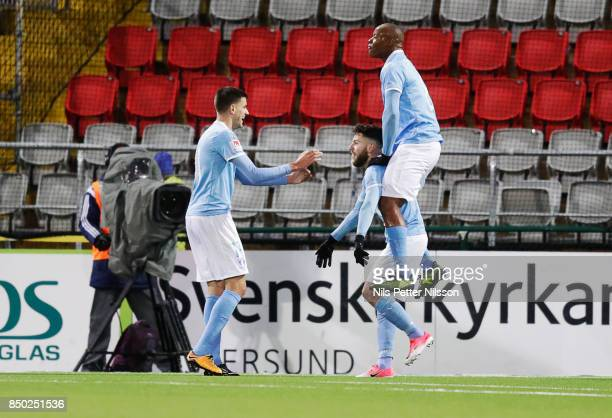 Erdal Rakip of Malmo FF celebrates after scoring to 01 during the Allsvenskan match between Ostersunds FK and Malmo FF at Jamtkraft Arena on...