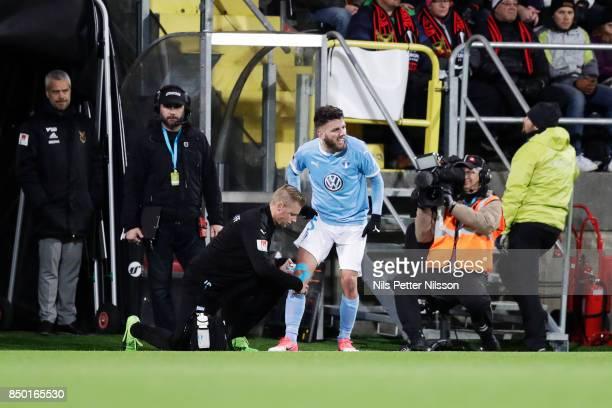 Erdal Rakip of Malmo FF in pain during the Allsvenskan match between IFK Norrkoping and BK Hacken at Nya Parken on September 19 2017 in Norrkoping...