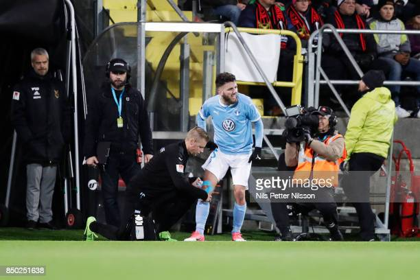 Erdal Rakip of Malmo FF in pain during the Allsvenskan match between Ostersunds FK and Malmo FF at Jamtkraft Arena on September 20 2017 in Ostersund...