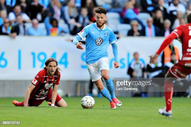Erdal Rakip of Malmo FF score 21 during the Allsvenskan match between Malmo FF and Ostersunds FK at Swedbank Stadion on May 14 2017 in Malmo Sweden