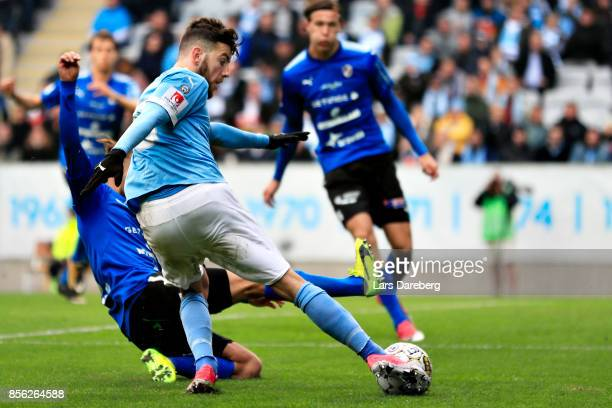 Erdal Rakip of Malmo FF score the 10 goal during the Allsvenskan match between Malmo FF and Halmstads BK at Swedbank Stadion on October 1 2017 in...