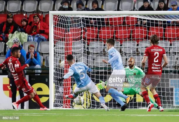 Erdal Rakip of Malmo FF scores the opening goal to 01 during the Allsvenskan match between IFK Norrkoping and BK Hacken at Nya Parken on September 19...
