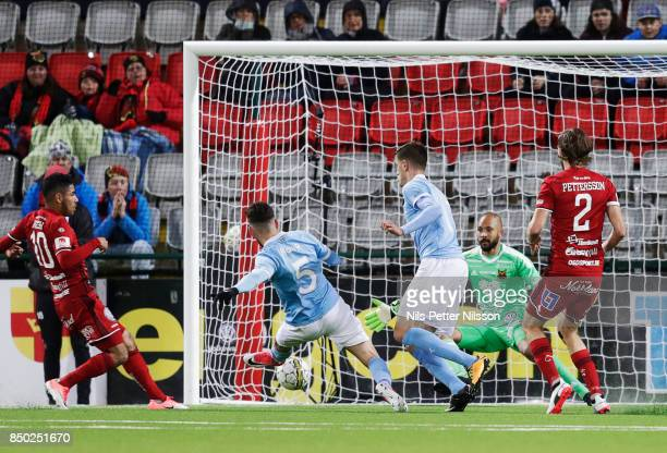 Erdal Rakip of Malmo FF scores the opening goal to 01 during the Allsvenskan match between Ostersunds FK and Malmo FF at Jamtkraft Arena on September...