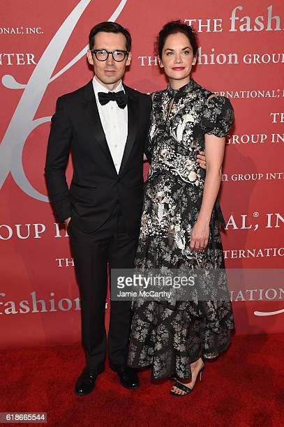 Erdem Moralioglu and actress Ruth Wilson attends 2016 Fashion Group International Night Of Stars Gala at Cipriani Wall Street on October 27 2016 in...