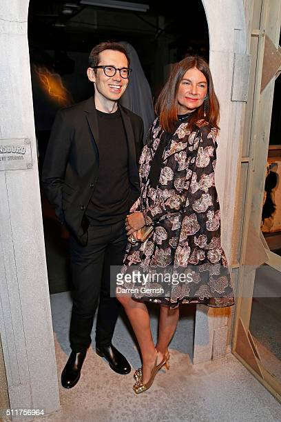 Erdem Moralioglu and Dame Natalie Massenet attend the Erdem x Selfridges Wrap Party during London Fashion Week Autumn/Winter 2016/17 at on February...