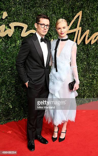 Erdem Moralioglu and Kate Bosworth attend the British Fashion Awards 2015 at London Coliseum on November 23, 2015 in London, England.