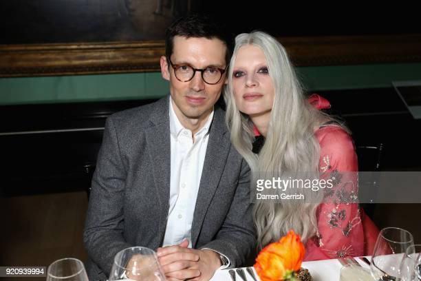 Erdem Moralioglu and Kristen McMenamy attend the ERDEM X NARS launch dinner at the National Portrait Gallery on February 19 2018 in London England